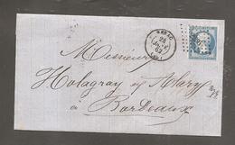 Lettre De NERAC   Janv 1862   Pc  2236 Sur 20c Empire Pour Bordeaux - 1862 Napoleon III