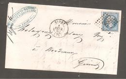"""Lettre De NIORT   Fevr 1862   Pc  2273 Sur 20c Empire Pour Bordeaux / Horlogerie Niort/au Dos """"la Rochelle A Poitier B"""" - 1862 Napoleon III"""