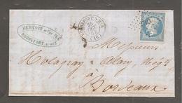 """Lettre De ROCHEFORT SUR MER  1862  20c Empire Pour Bordeaux / Au Dos """"la Rochelle A Poitier A """" - 1862 Napoleon III"""