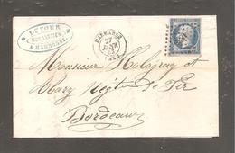 Lettre De  MARMANDE  1862  20c Empire Pour Bordeaux / Mecanicien à Marmande - 1862 Napoleon III
