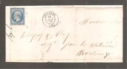Lettre De   LESPARRE  1861  20c Empire Pour Bordeaux - 1862 Napoleon III