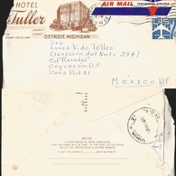 J) 1958 UNITED STATES, COMMERCIAL LETTER, HOTEL TULLER, DETROIT MICHIGAN, AIRPLANE, AIRMAIL, CIRCULATED COVER, FROM USA - United States