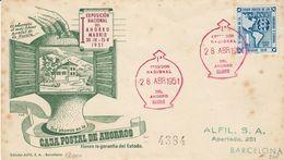 ESPAÑA - SPAGNA - SPAIN - ESPAGNE - 1951 - Busta Con Annullo Primo Giorno Esposizione Nazionale Del Risparmio - FDC