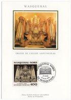 Carte Maximum 1991 - WASQUEHAL-NORD :Orgue De L'Eglise Saint Nicolas YT 2706  Du 22/06/1991- 59 Wasquehal - 1990-99