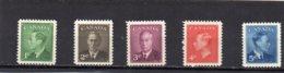 1950 GV1 5 Values MNH - 1937-1952 Reign Of George VI