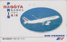 Télécarte Japon / 110-016 - AIR FRANCE - AVION ** Nagoya Paris ** - AIRLINES Japan Phonecard - FLUGZEUG - Aviation  2284 - Avions