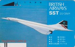 TC Ancienne Japon / 290-0308 - AVION CONCORDE ** BRITISH AIRWAYS ** - AIRLINES Japan Front Bar Phonecard / England  2297 - Avions