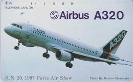 TC NEUVE Japon / 290-3483 - AVION - AIRBUS A 320 ** 1987 PARIS AIR SHOW - PLANE AIRLINES Japan MINT Phonecard - 2298 - Avions
