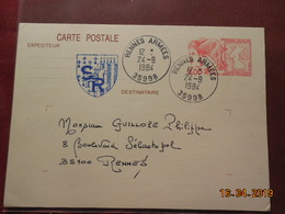 Entier Postal De 1984 à Destination De Rennes - Postal Stamped Stationery