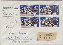Monaco - 4x60 C. Grand Prix Chess Einschreibebrief Monte Carlo - Bad Ems 1967 - Monaco