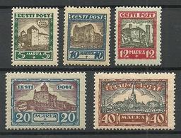 Estonia Estonie 1927 Castles Michel 63 - 67 MNH - Estonia