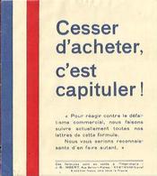 "Tracte De 1939 ""Cesser D'Acheter C'est Capituler"" - 1939-45"