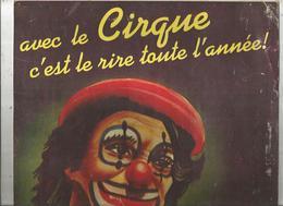 Publicité, Plaque En Carton,AVEC LE CIRQUE C'EST LE RIRE TOUTE L'ANNEE ! 355 X 275 Mm , Frais Fr 4.55 E - Plaques En Carton
