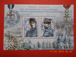 FRANCE 2019   Feuillet  FRANCE-POLOGNE 100eme Ann.Relations Diplomatiques   Beaux Cachest  Ronds Sur Timbres Neufs - Oblitérés