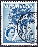 SEYCHELLES 1956 QEII 10c Chalky Blue SG176a FU - Seychelles (...-1976)