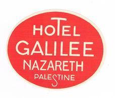 Ancienne  Publicité Sur Papier ( Colle D'origine Au Dos ) HOTEL  GALILEE  NAZARETH  PALESTINE- Vieux Papiers - Pubblicitari