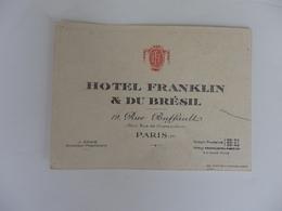 Carte De Visite De L'hôtel Franklin & Du Brésil 19, Rue Buffault à Paris 9 éme. - Cartes De Visite