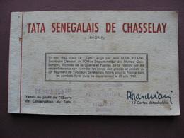 Lot 12 CPSM Carnet Album TATA SENEGALAIS De CHASSENAY 69 Guerre 1939 1940 Régiment Tirailleurs Cérémonie Militaire - War Cemeteries
