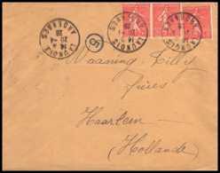 9357 N°199 Semeuse 50c X3 Launois Ardennes 1928 Harlem Pays-Bas Netherland France Lettre Cover - Marcophilie (Lettres)