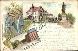 Lithographie Essen Im Ruhrgebiet Nordrhein Westfalen, Ruhrstein, Krupp Denkmal, Kettwiger Chaussee - Other