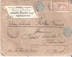 Lettre En Valeurs Déclarées = 1000 Francs De NARBONNE à PLANEZES En Tete J.MAURY VINS Au Dos Griffe De Chargement - 1877-1920: Période Semi Moderne