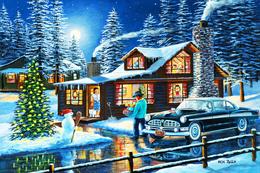 №181.16 Postcard Modern Rare New Husband With Gifts Christmas Winter Retro Car - Illustrators & Photographers
