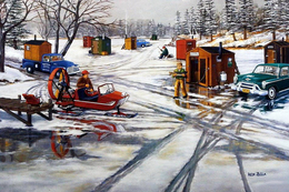 №181.18 Postcard Modern Rare New Winter Fishing Men's Hobby Retro Car - Illustrators & Photographers