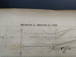 ANNALES DES PONTS Et CHAUSSEES (Dep 40) - Amélioration De L'embouchure D'Adour - L. Courtier 1900 (CLD01) - Cartes Marines