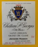 10378 - Château St Georges Côte Pavie 1982 Saint Emilion 37.5 Cl - Bordeaux