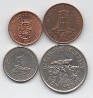 Lot De 4 Pièces De Jersey : 16,5 Pence 1971-1998 QEII - Jersey