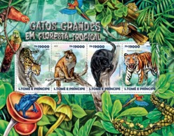 Sao Tome 2015 Fauna Rainforest Big Cats,tiger ,leopard ,frog,bird - Sao Tome And Principe