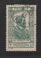 """FRANCE / 1943 / Y&T N° 592 : """"Célébrités Du 16ème Siècle"""" (Henri IV) - Oblitéré 1943 11 06. SUPERBE ! - France"""