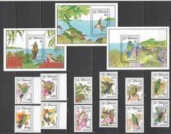 VV022 ST.VINCENT FLORA FAUNA COLIBRI BIRDS #2029-43 MICHEL 44,5 EURO SET+3BL MNH - Colibris