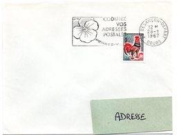 DOUBS - Dépt N° 25 = BESANÇON DEPART 1967 = FLAMME Codée =  SECAP Multiple ' PENSEZ + CODIFIEZ' = Pensée N° 1 - Code Postal