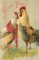 JOYEUSES PÂQUES - Couple Poule Et Coq.(carte Gaufrée) - Pâques