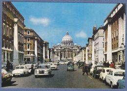 Mercedes Fiat Renault Dauphine VW Karmann Ghia Peugeot Alfa Romeo Car Auto Traffic Roma Italy-(K1) - Turismo