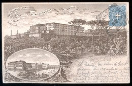 FRASCATI - ROMA - 1898 - COLLEGIO CONVITTO MONDRAGONE - QUALCHE LACERAZIONE RIPARATA. - Roma (Rome)