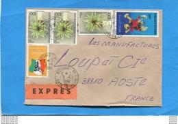 MARCOPHILIE Lettre EXPRES-cote D'ivoire>Françe-cad-bouaké-1984-**RARE**stampsX3- N°675C - Côte D'Ivoire (1960-...)