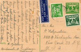 27 I 1946 Bk Per Luchtpost Bijgefrankeerd Van Eindhoven- New York  (Joodse Post) Adolf Katzenstein - Periode 1891-1948 (Wilhelmina)
