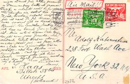 15 I 1946 Bk Per Luchtpost Bijgefrankeerd Van Utrecht- New York  (Joodse Post) Adolf Katzenstein - Periode 1891-1948 (Wilhelmina)