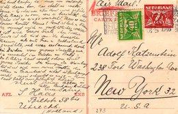 12 VI  1946 Bk Per Luchtpost Bijgefrankeerd Van Utrecht- New York  (Joodse Post) Adolf Katzenstein - Periode 1891-1948 (Wilhelmina)