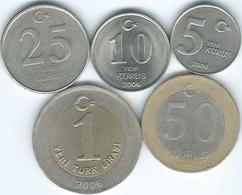 Turkey - Yeni - 5 (2006) 10 (2006) 25 (2005) & 50 Kurus (2005); 1 Lira (2006) (KMs 1165-1169) - Turkey