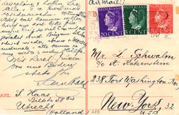 12 III 1947  Bk Per Luchtpost Bijgefrankeerd Van Utrecht- New York  (Joodse Post) Adolf Katzenstein -L.Schwalm - Periode 1891-1948 (Wilhelmina)