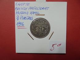 EGYPTE 2 PIASTRES 1916 ARGENT - Egypte