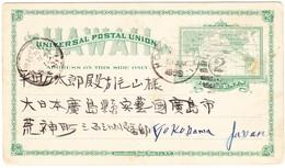 1899 2 Cent Ganzsachenkarte Aus Honolulu Nach Yokohama, Rückseitig Japanisch Bedruckt - Hawaii