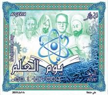 ALGERIA ALGERIE 2019 SHEET BLOC BLOCK SCIENCE SCIENCES DAY CHEMISTRY PHYSICS MECHANICS MICROSCOPE BOOK IBN BADIS MNH - Química
