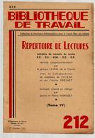 Bibliothèque De Travail 212 1-12-1952 Répertoire De Lectures - 12-18 Years Old
