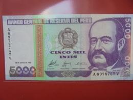 PEROU 5000 INTIS 1988 PEU CIRCULER - Peru