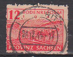 SBZ Provinz Sachsen 12 Pfg. Bodenreform Postmeisterzähnung Geprüft 86 Awa, Gestempelt - Sovjetzone