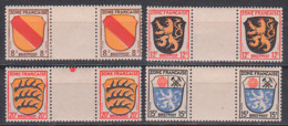 Franz. Zone Postfrisch Angegebene Werte Mit Zwischensteg.  8/Z/8, 12/Z/12, 20/Z/20, 15/Z/15 - Zone Française